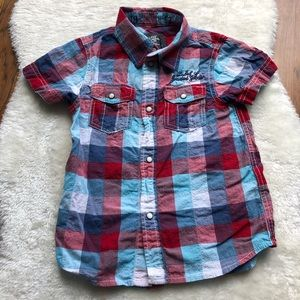 Boys short sleeve plaid button down shirt 4-5 Y